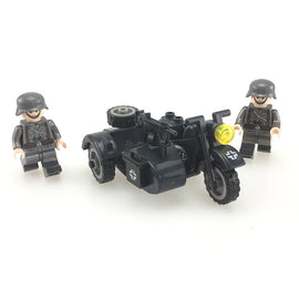 WWII Germany Military Motorcycle Army Soldiers Brick Toy