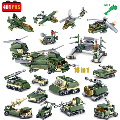 16 in 1 Military Vehicle Lego Compatible 401 Pieces - Bluejay Goods