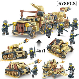 4 in 1 Tank Fortress Set Lego Compatible  678 Pieces - Bluejay Goods