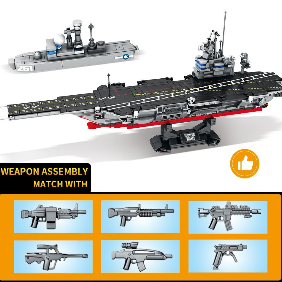 Aircraft Carrier Set Lego Compatible 716 Pieces Bluejay Goods