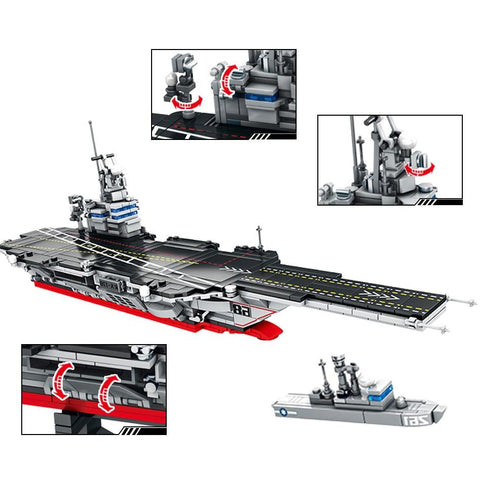 Aircraft Carrier Set Lego Compatible 716 Pieces - Bluejay Goods