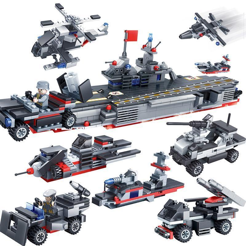8 in 1 Navy Super Battleship Set Lego Compatible 763 Pieces - Bluejay Goods