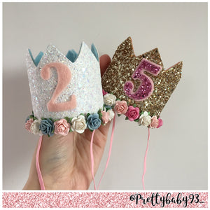 Birthday crown. Glitter cake smash crown.