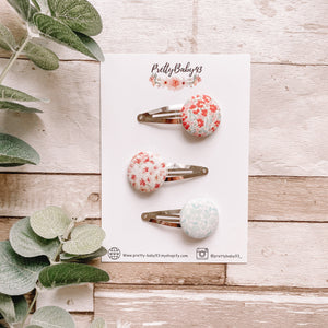New floral button snapclips