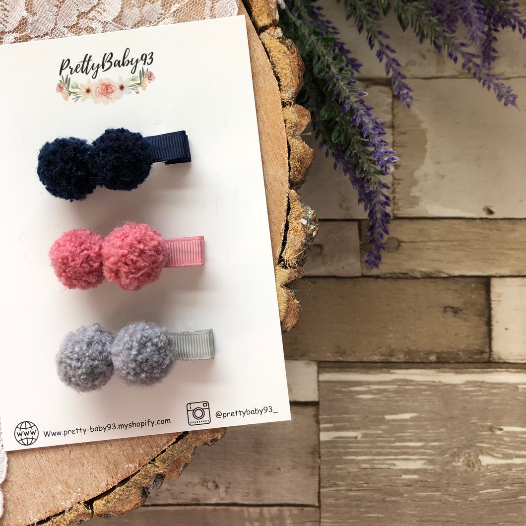 Wool Pom Pom Clips NEW