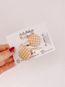 Gingham button snap clips (4578911158337)