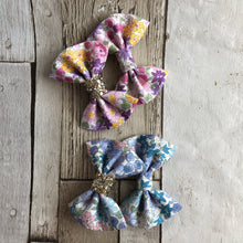 Lilac/Pink and Blue sevenberry Fabric pinch bow
