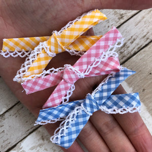 School Bow Gingham tie (scallop)