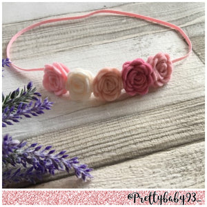 Ombré pink small rose headband