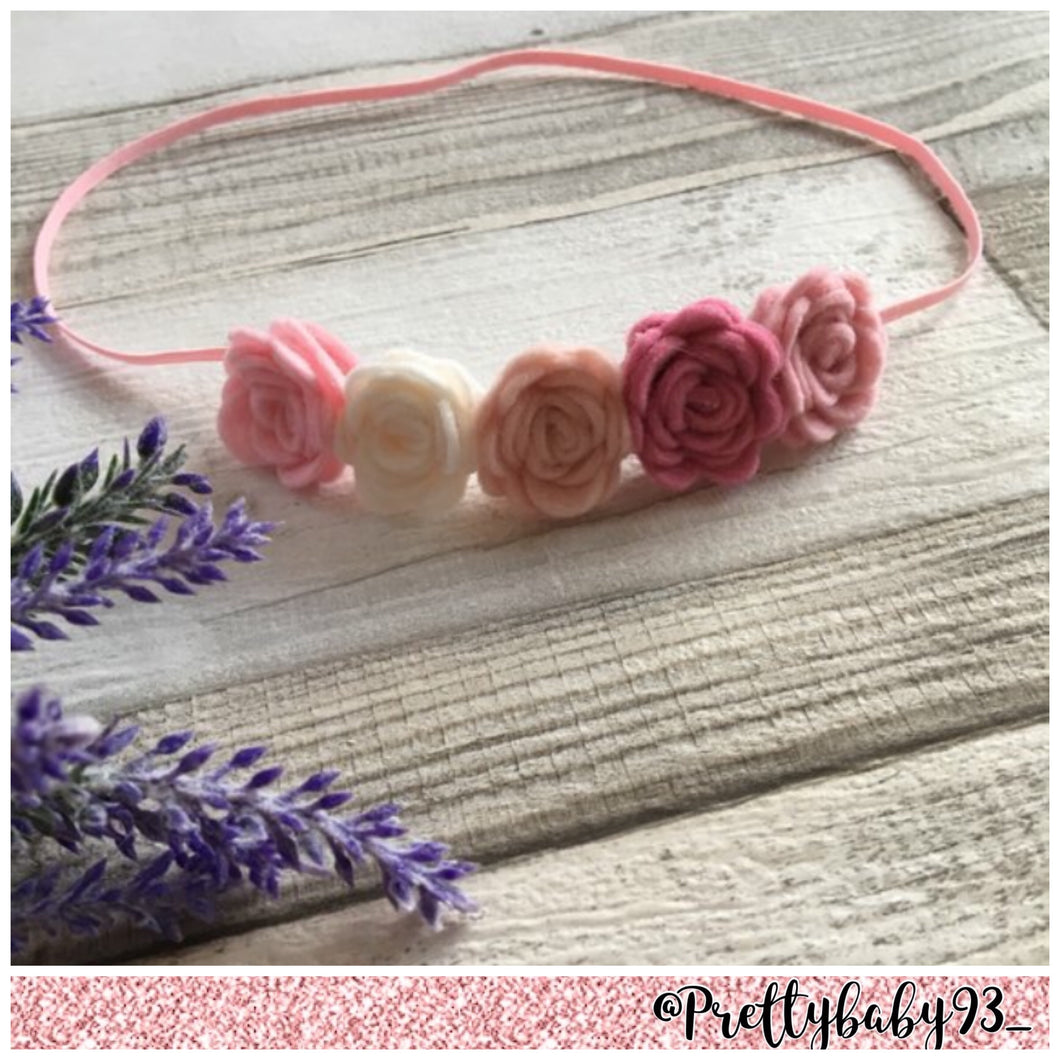 Ombré pink small rose headband (1943494131777)