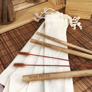 Straw Hut Co.'s 100% organic natural bamboo straws.