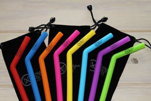 Silicone straws offered in a colourful set by Straw Hut Co.