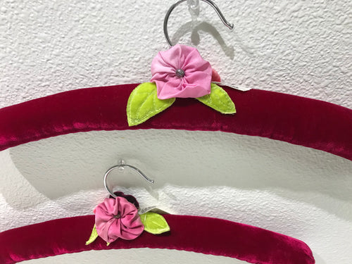 Light Cranberry Velvet and Pink Flowers  | Set of 2