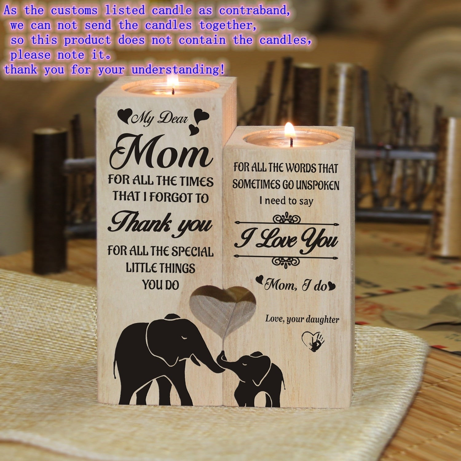 Candle Holders With Love Message To Mom