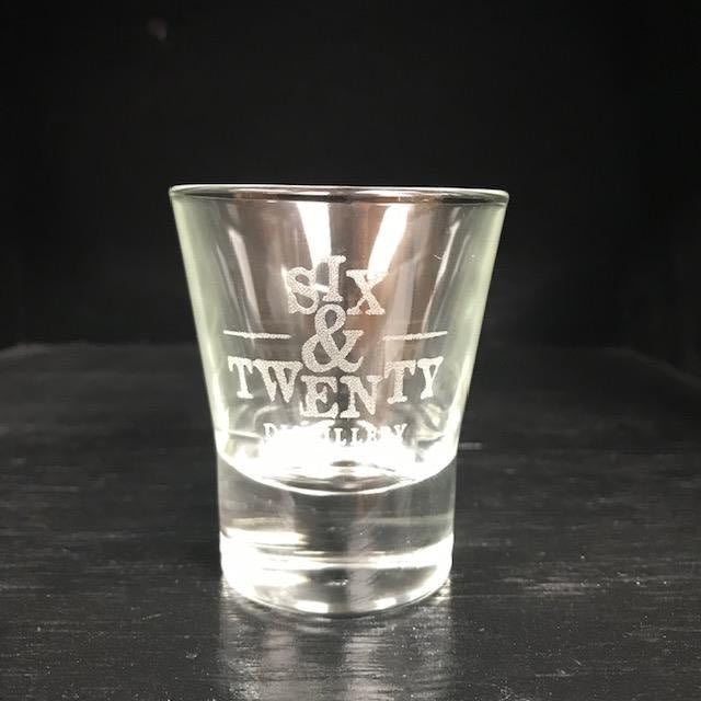 Six & Twenty etched Shot Glass