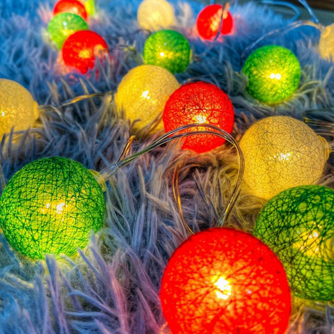 led balls, cotton balls, christmas decor, christmas lights