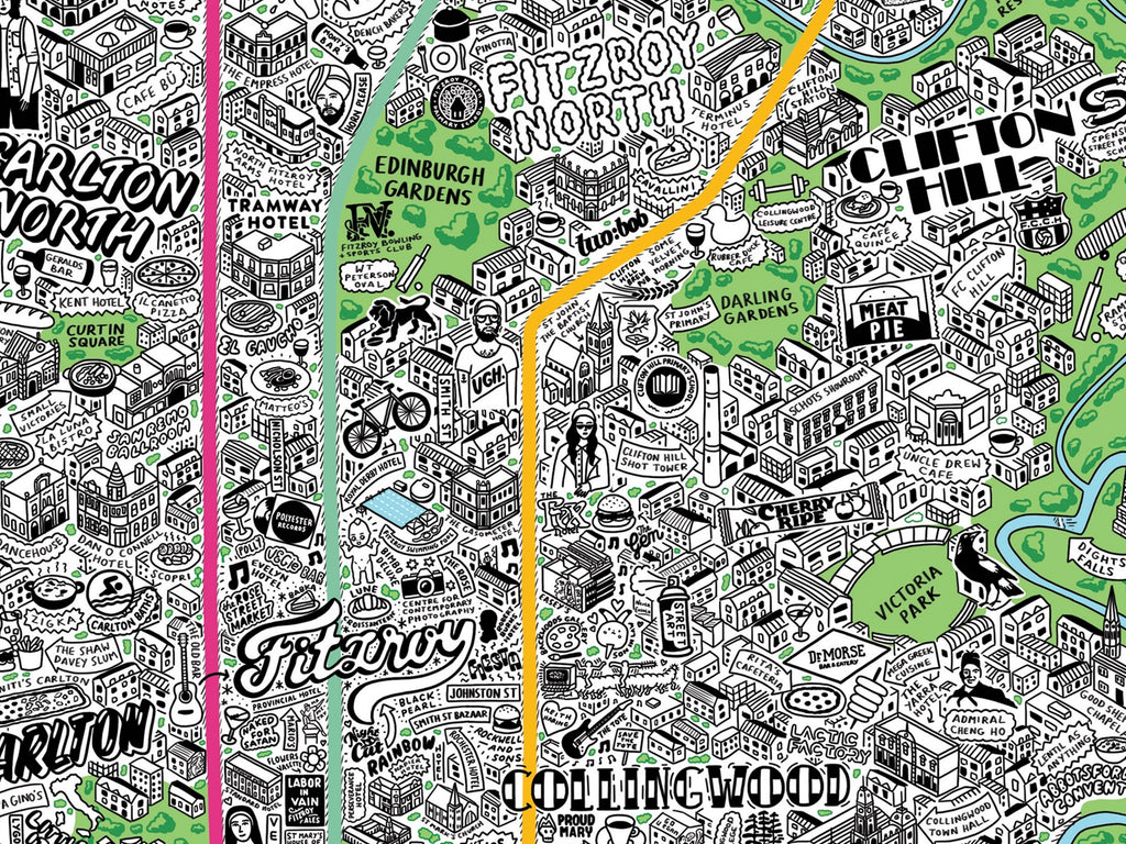 hand drawn map of melbourne by jenni sparks_Fitzroy
