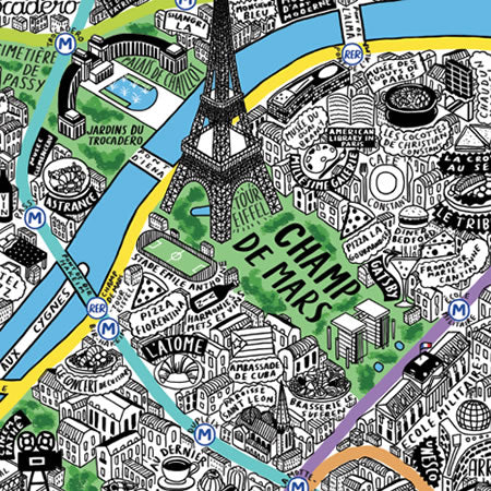 Jenni Sparks Hand Drawn Map of Paris - Evermade