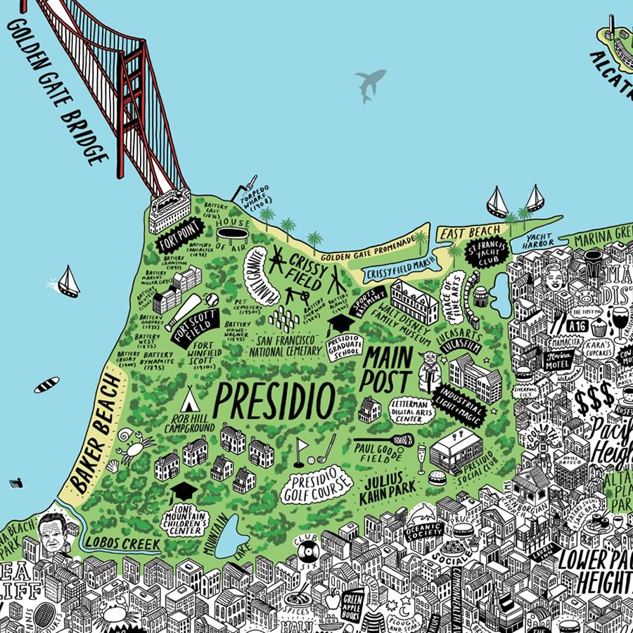 Jenni Sparks Hand Drawn Map of San Francisco - Evermade