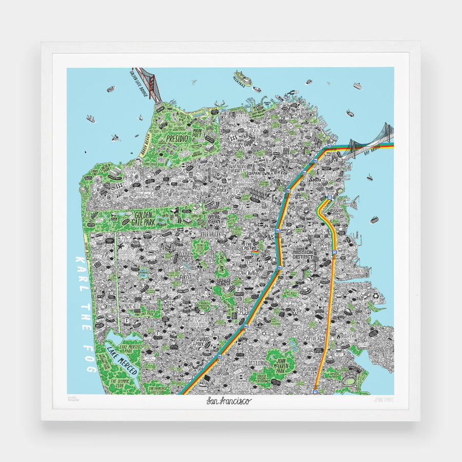 Hand Drawn Map of San Francisco - Evermade