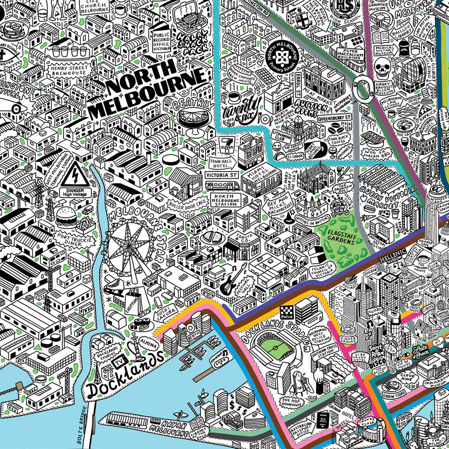 Jenni Sparks Hand Drawn Map of Melbourne - Evermade
