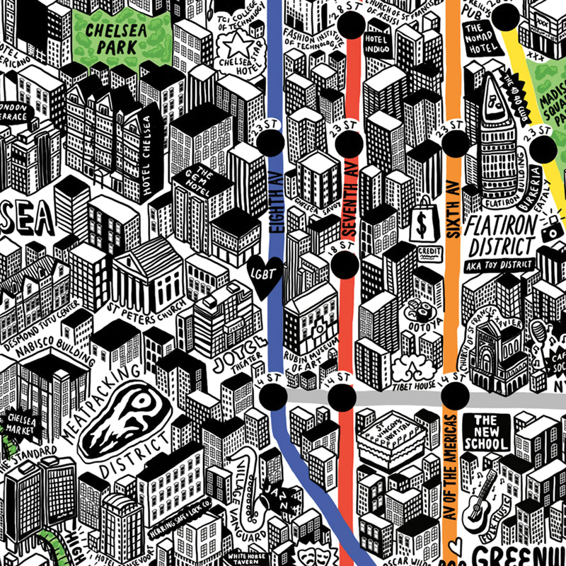 Jenni Sparks Hand Drawn Map of New York - Evermade