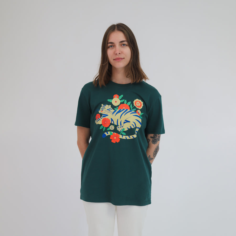 Agathe Singer Tiger in Plants Unisex T-shirt - Evermade