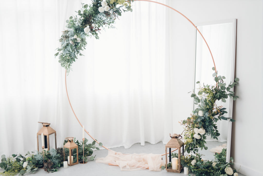 White Flowers + Circle Arch