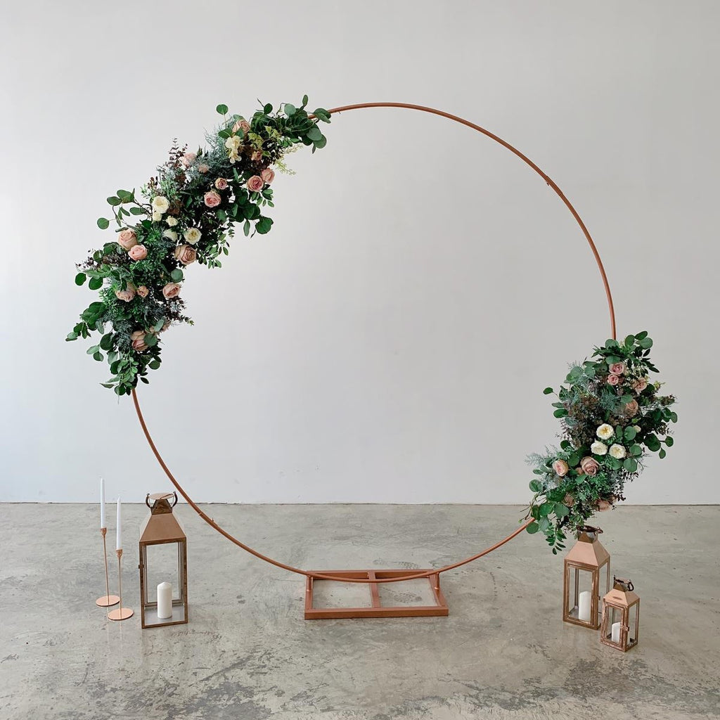Pink Flowers + Circle Arch