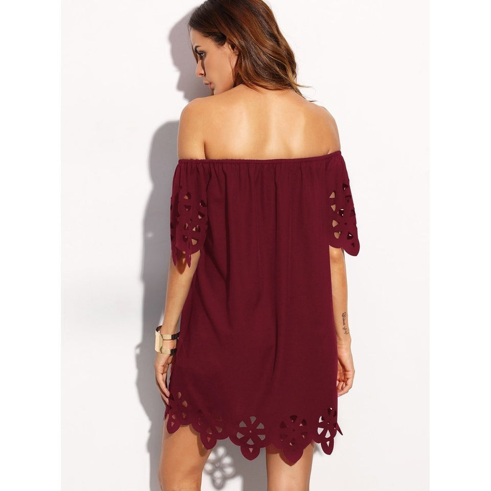 Wine Off Shoulder Dress