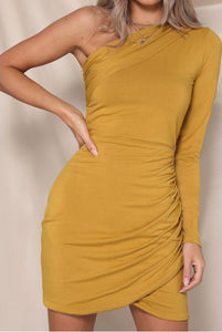 Golden One Shoulder Dress