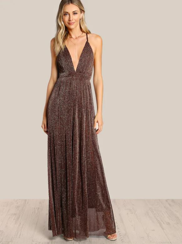 Long Backless Glitter Dress