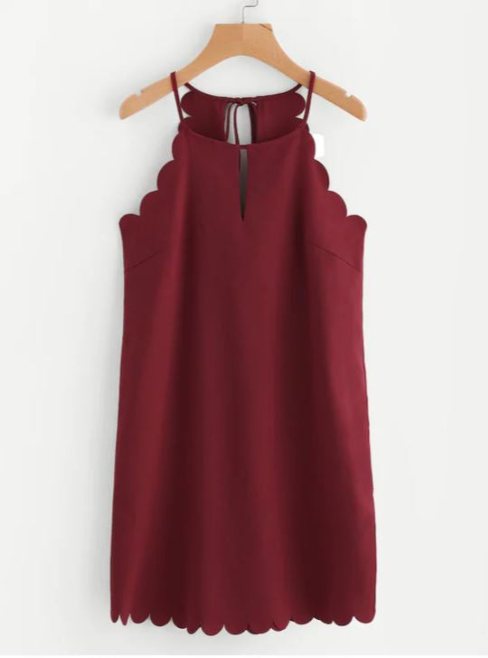 Wine Scallop Dress