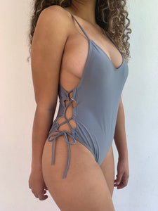 Grey Side Tied Swimsuit