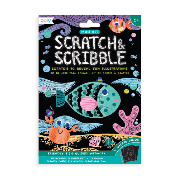 Mini Scratch & Scribble Art Kit (Friendly Fish) - Lovingly Signed Hong Kong