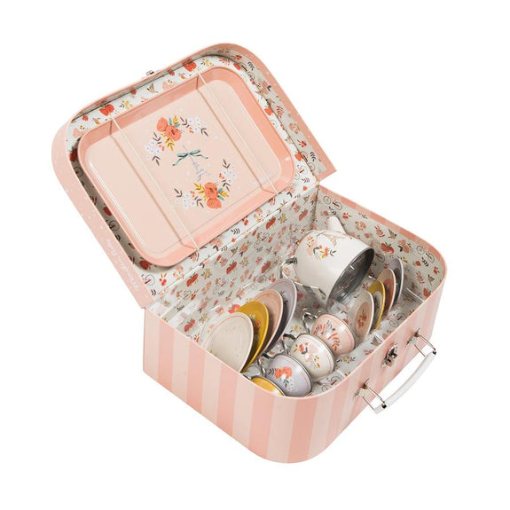 Les Parisiennes Child - Safe and Food Safe Tin Tea Set Suitcase - LOVINGLY SIGNED INDONESIA