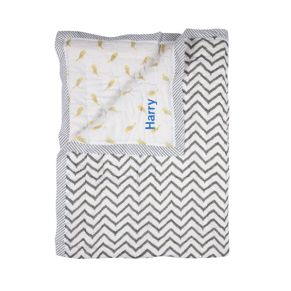 Personalised Baby Quilt - Yellow Birds