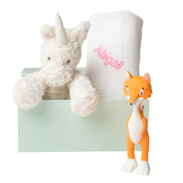 FuddleWuddle Unicorn, Blanket & Ethan the Fox Set - White - LOVINGLY SIGNED INDONESIA