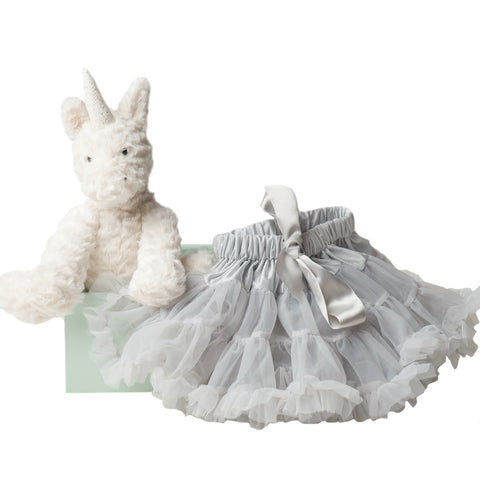 Fuddlewuddle Unicorn and Pale Grey Tutu Set