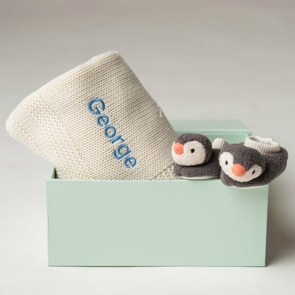 Pippet Penguin and Blanket Gift Set - Cream - LOVINGLY SIGNED INDONESIA