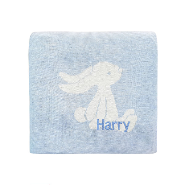 Personalised Bashful Blue Bunny Blanket - LOVINGLY SIGNED INDONESIA