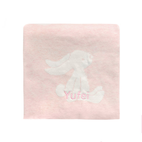 Personalised Bashful Pink Bunny Blanket
