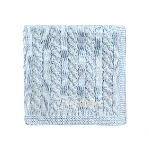 Personalised Luxury Baby Cable Knit Blanket - Pale Blue - LOVINGLY SIGNED INDONESIA
