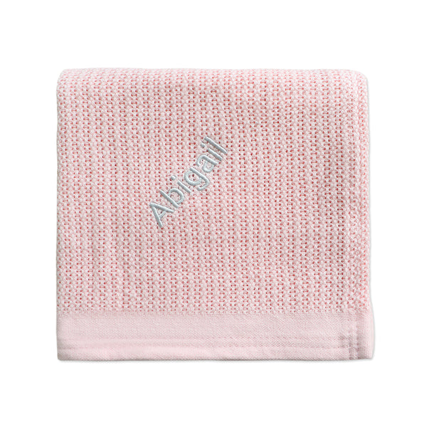 Personalised Organic Cotton Blanket - Pink - LOVINGLY SIGNED INDONESIA