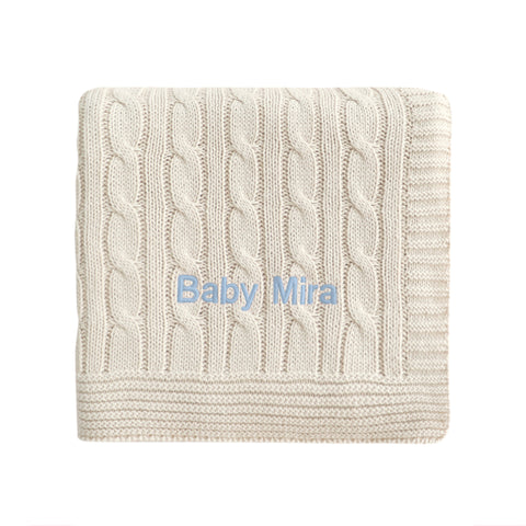 Personalised Luxury Baby Cable Knit Blanket - Cream