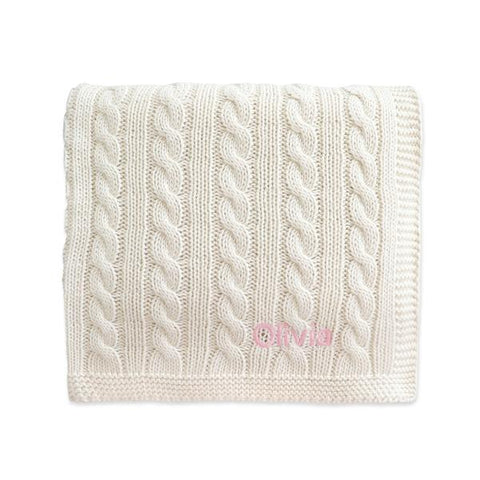 Personalised Super Luxury Baby Cable Knit Blanket - Cream