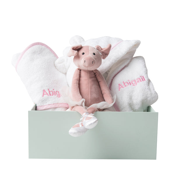 Personalised Dancing Darcey Piglet Snuggles Bath Set - LOVINGLY SIGNED INDONESIA