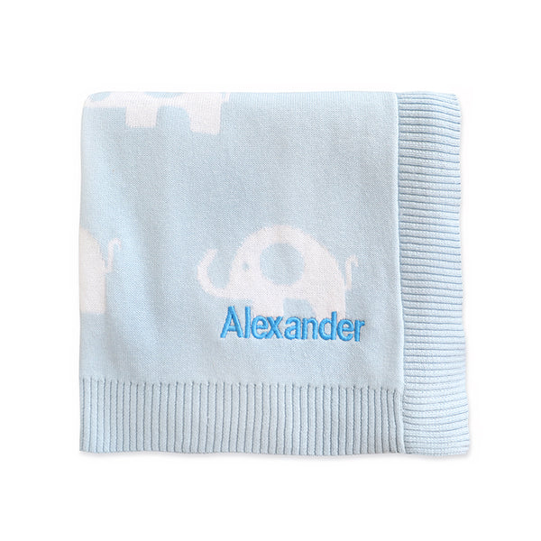 Personalised Blue Elephant Blanket - LOVINGLY SIGNED INDONESIA