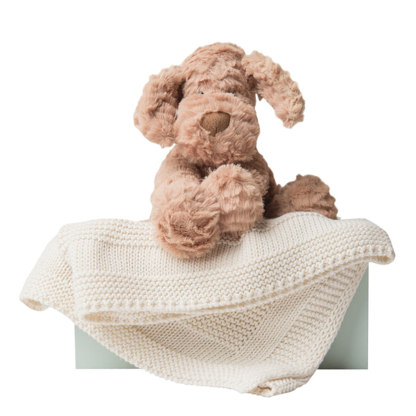 Fuddlewuddle Puppy and Blanket Gift Set - Cream - LOVINGLY SIGNED INDONESIA