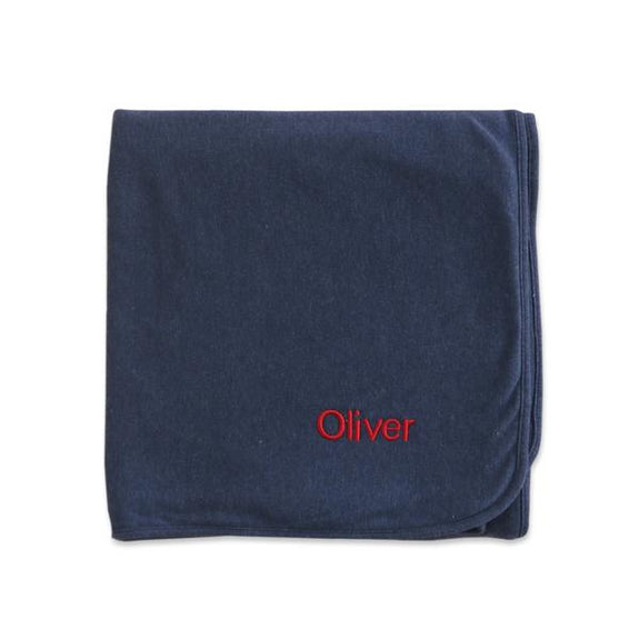 Personalised Organic Cotton Blanket - Navy - LOVINGLY SIGNED INDONESIA